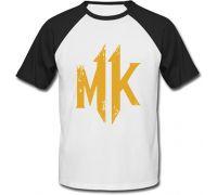 Футболка Mortal Kombat 11 - Logo (белая с чёрными рукавами)