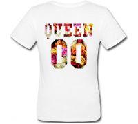 Женская именная футболка QUEEN - Flowers (принт сзади) [Цифры можно менять] (50-100% предоплата)