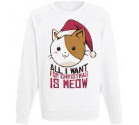 Свитшот All I Want For Christmas Is Meow (белый)