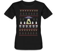 Женская футболка Snowman Abduction (чёрная)