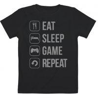 Детская футболка Eat Sleep Game Repeat (чёрная) 7-8